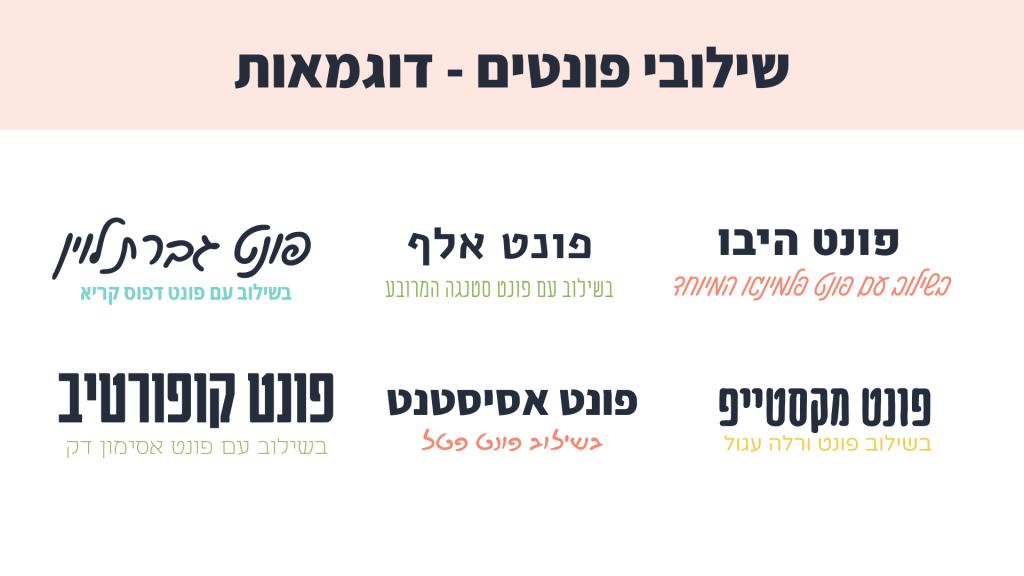 דוגמאות לשילובי פונטים Canva בעברית